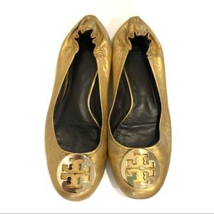 Tory Burch Metallic Gold Reva Flats